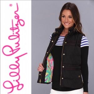 LILLY PULITZER Black Kate Puffer Vest Size Small